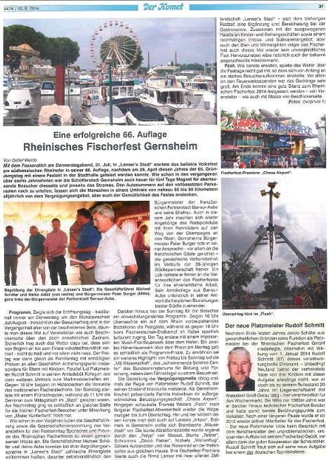 Artikel Der Komet vom 10. Sept 2014